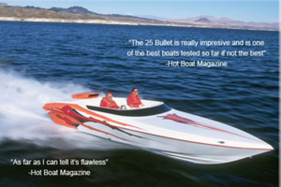 Howard 25 Bullet runs 111 MPH by Hot Boat Magazine eclipsing the old single engine V-bottom record set by our 28 open bow at 104 MPH.